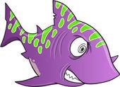 Purple Crazy Shark Vector Illustration Art — Stock Vector