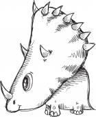 Doodle Sketch Triceratops Dinosaur Vector Illustration — Stock Vector