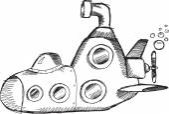 Doodle Sketch Submarine — Wektor stockowy
