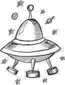 Doodle Sketch UFO — Vetor de Stock