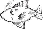 Doodle Sketch Fish Vector Illustration Art — ストックベクタ
