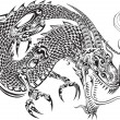 Dragon Doodle Sketch Tattoo Vector — Stock Vector #72953587