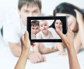 Photo shooting on tablet pc — Stock Photo