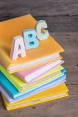 School supplies labeled ABC — Stock Photo