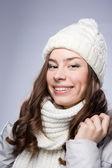 Chica cara de sombrero del invierno — Foto de Stock