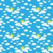 Hemel met wolken en de zon — Stockvector