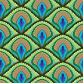 Seamless texture of peacock feathers — Stok Vektör