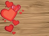 Heart on wooden planks texture — Stockvector
