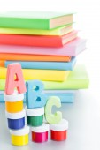 Letters abc and stack of books — Stock Photo