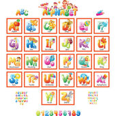 Alphabet with pictures for children — Stock Vector
