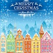 Christmas and New Year holidays card with snowy old town — Stock Vector #59719065