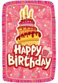 Happy birthday card with Birthday cake — Vettoriale Stock