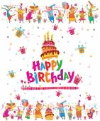 Birthday card design with cake — Stock Vector