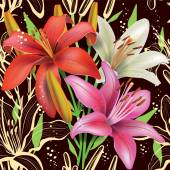 Seamless floral pattern with lilies — Stock Vector