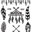 Tribal Feathers and decorative elements — Stock Vector #76185739