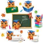 Set of wise owls in graduation caps — Stock Vector #80498560