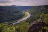 Sandstone rocks and river Elbe — Stock Photo