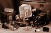Old retro cameras — Stock Photo