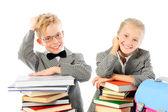 Happy school children with books — Stock Photo