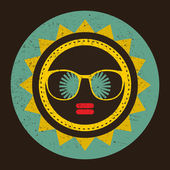 Cool sun with woman face in retro style. — Stock Vector