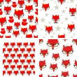 Set of seamless pattern with cute foxes. — Stock Vector #55341009