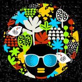Black head woman in retro sunglasses. — Vetorial Stock