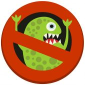 Ban sign to virus aggression. — Stock Vector