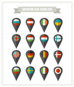 Set of flat icons country location. — Stock Vector