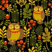 Seamless pattern with fashionable retro owls. — Stock Vector