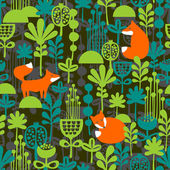 Foxes in night forest seamless pattern. — Stock Vector