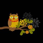 Fashionable owl on the branch. — Stock Vector