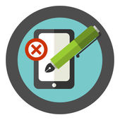 Vector sign of wrong using of writing utensils. — Stock Vector