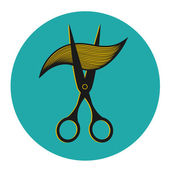 Vintage label for hairdresser and barber with scissors. — 图库矢量图片