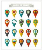 Set of flat icons location. — Vector de stock