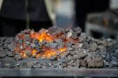 Furnace with burning coals — Stock Photo
