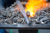 Furnace with burning coals — Stockfoto