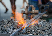 Furnace with burning coals — Stock Photo