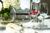 Table set service with silverware — Stock Photo