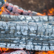 Flames and smoke from burning wood — Stock Photo #56560419