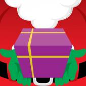 Santa Claus holding a wrapped Christmas gift — Stock Vector