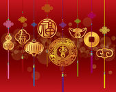 Chinese New year pendant decoration background — Stock Vector