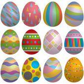 Vector illustration of colorful Easter egg set — Stock Vector