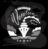 Cruzeiro de férias, desenhos caligráficos viagens — Vetor de Stock