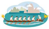 Dragon boat racing illustration design — Stock Vector