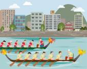 Dragon boat racing on the city harbour — Stock Vector