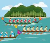 Dragon boat racing with Island view — Stock Vector