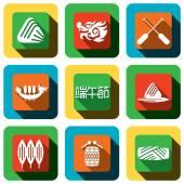 Dragon boat festival Icon design set — Stock Vector