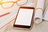 Tech device mock up on office background — Stock Photo