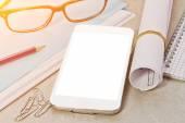 Tech device mock up on office background — Stok fotoğraf