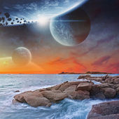 Beach planet landscape — Foto de Stock